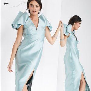 ASOS edition satin pleat sleeve midi dress